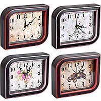 """От 2 шт. Настольные часы - будильник Х2-24/AS895 """"Ромб"""" с картинкой 12,5*10,5*3,5см купить оптом в интернет"""