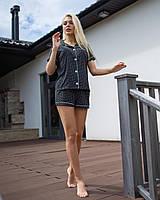 Жіноча піжама чорна горохи V. Velika (сорочка, шорти), фото 1