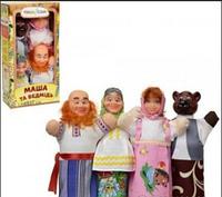 """Кукольный театр """"Маша и Медведь"""" ЧудиСам. Кукла-рукавичка. 4 сказочных персонажа. Яркие куклы. арт. 068"""