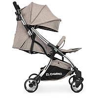 Детская компактная коляска с большим капюшоном. Карман. Вентиляционное окно. Лен. El Camino ME 1059 MILLY Sand
