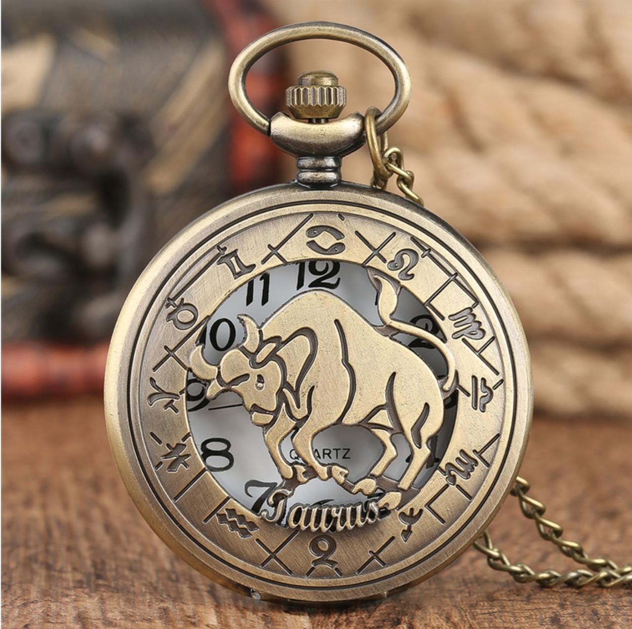 Карманные часы на цепочке знак Зодиака Телец