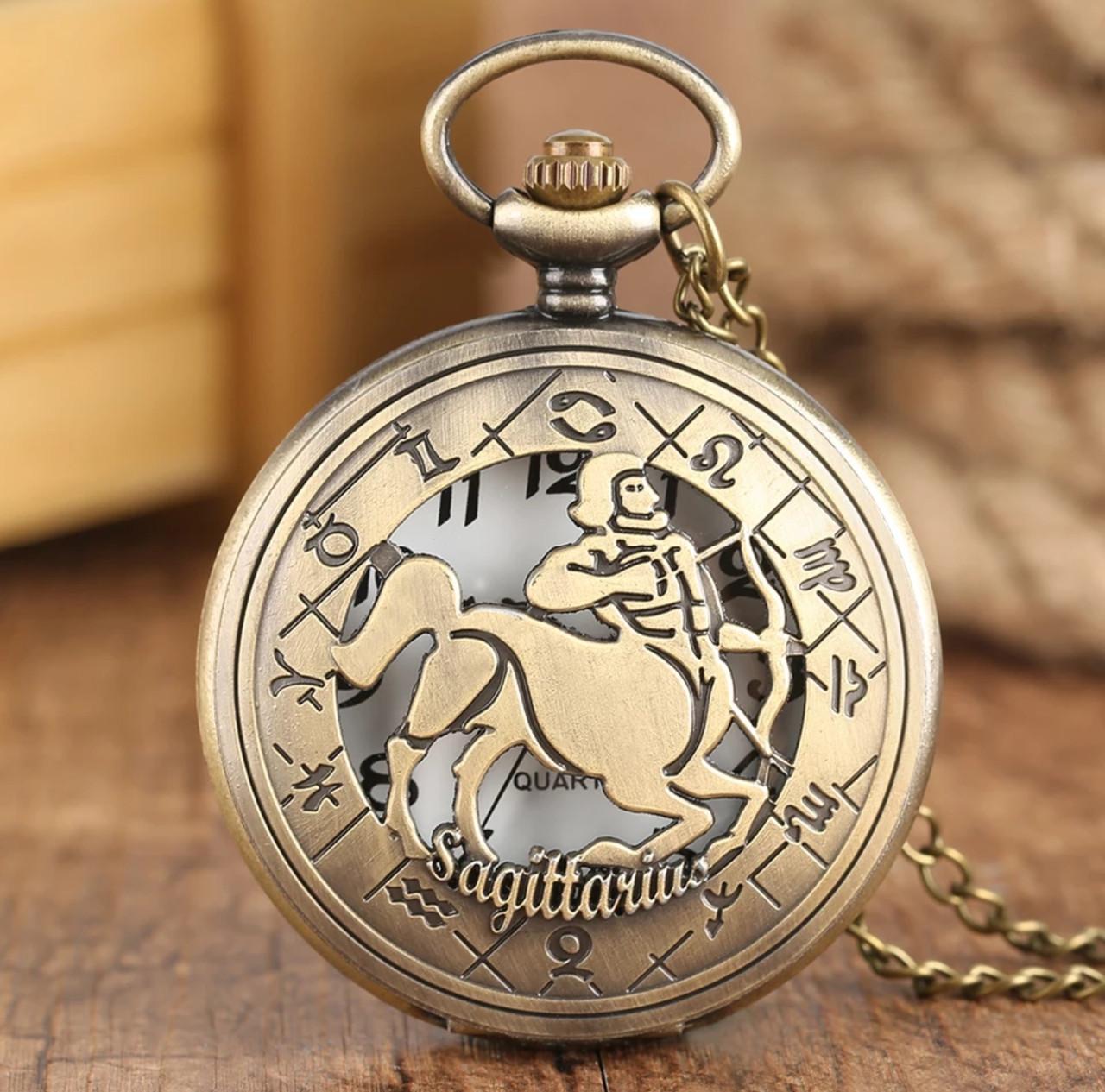 Карманные часы на цепочке знак Зодиака Стрелец