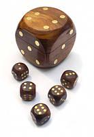 Игра 5 игральных кубиков в кубике из красного дерева