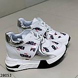 Жіночі кросівки білого кольору еко-шкіра на платформі , фото 2