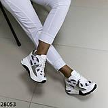 Жіночі кросівки білого кольору еко-шкіра на платформі , фото 5