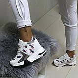 Жіночі кросівки білого кольору еко-шкіра на платформі , фото 9