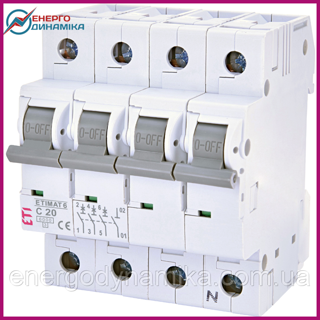 Авт. выключатель ETIMAT 6  3p+N C 20А (6 kA)