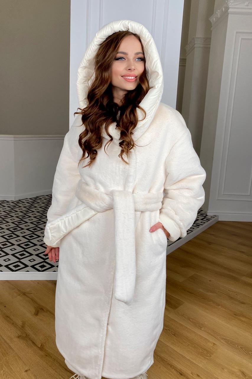 Стильне довге пальто з хутром Сноу 9956