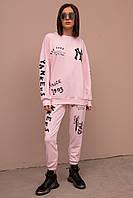 Женский спортивный костюм двухнитка с аппликацией 46-50 пудра, фото 1