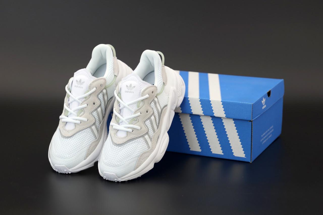 Мужские кроссовки Adidas Ozweego. Белые. ТОП Реплика ААА класса.