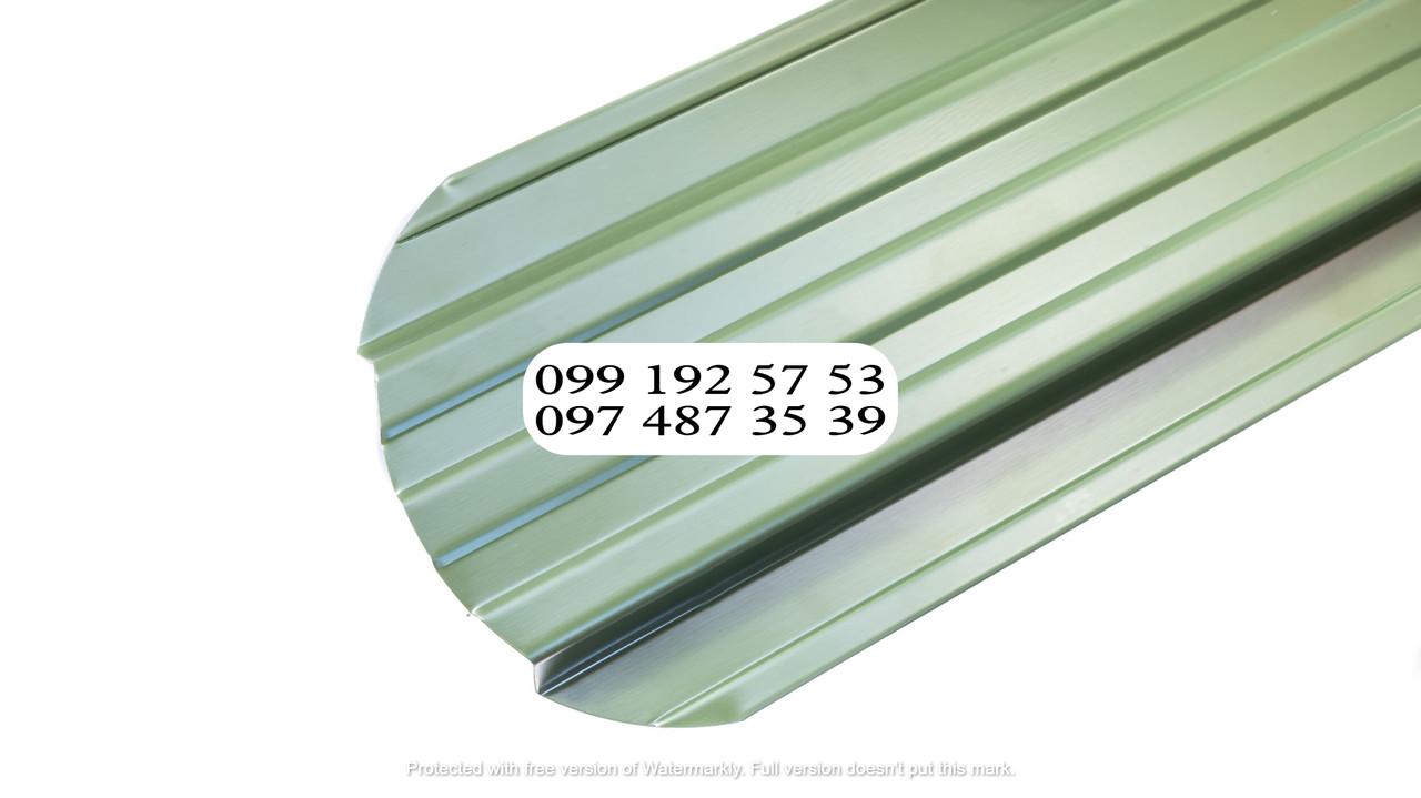 Металлический штакетник 115мм, верх - полукруглый двухстор. Словак 0.45мм 6020 Хромовый зеленый, Темно-зеленый