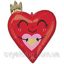 Фольгований куля фігура Серце з короною P47 Anagram