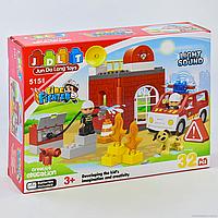 """Конструктор JDLT 5151 """"Пожарная станция"""", 32 детали, 2 фигурки, свет, звук, в коробке"""