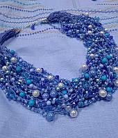 """Авторские вязаные бусы из бисера ручной работы """"Прекрасная мечта"""", модное ожерелье, колье, украшение на шею"""