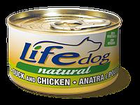 Консерва для собак класса холистик LifeDog duck and chicken 90g,ЛайфКет 90гр Утка с курицей