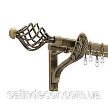 Карниз для штор металевий АРЕЗО подвійний 25+19 мм РЕТРО 1.6м Колір Античне золото