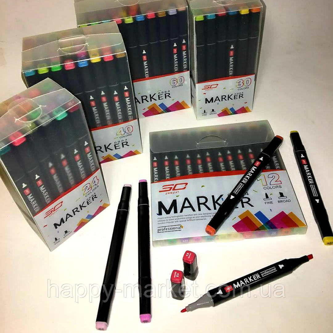 Набір двосторонніх фломастери 12 кольорів для малювання AH-PM514-12 (круглий+скошений.) трикутні