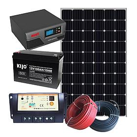 Комплект 380 Вт автономной солнечной электростанции Пасека-380 с инвертором 600 Вт и резервом АКБ