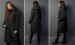Теплое женское зимнее стеганное непромокаемая пальто-куртка с высоким капюшоном