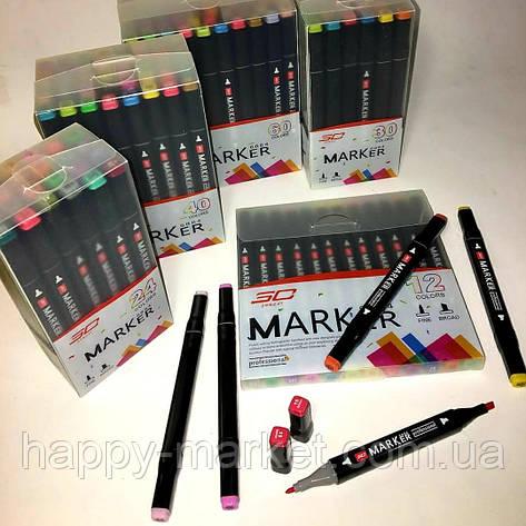 Набір двосторонніх фломастери 12 кольорів для малювання AH-PM514-12 (круглий+скошений.) трикутні, фото 2