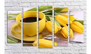 """Модульная картина на холсте Holst Art """"Кофе с тюльпанами 2"""" (HAB-299)"""