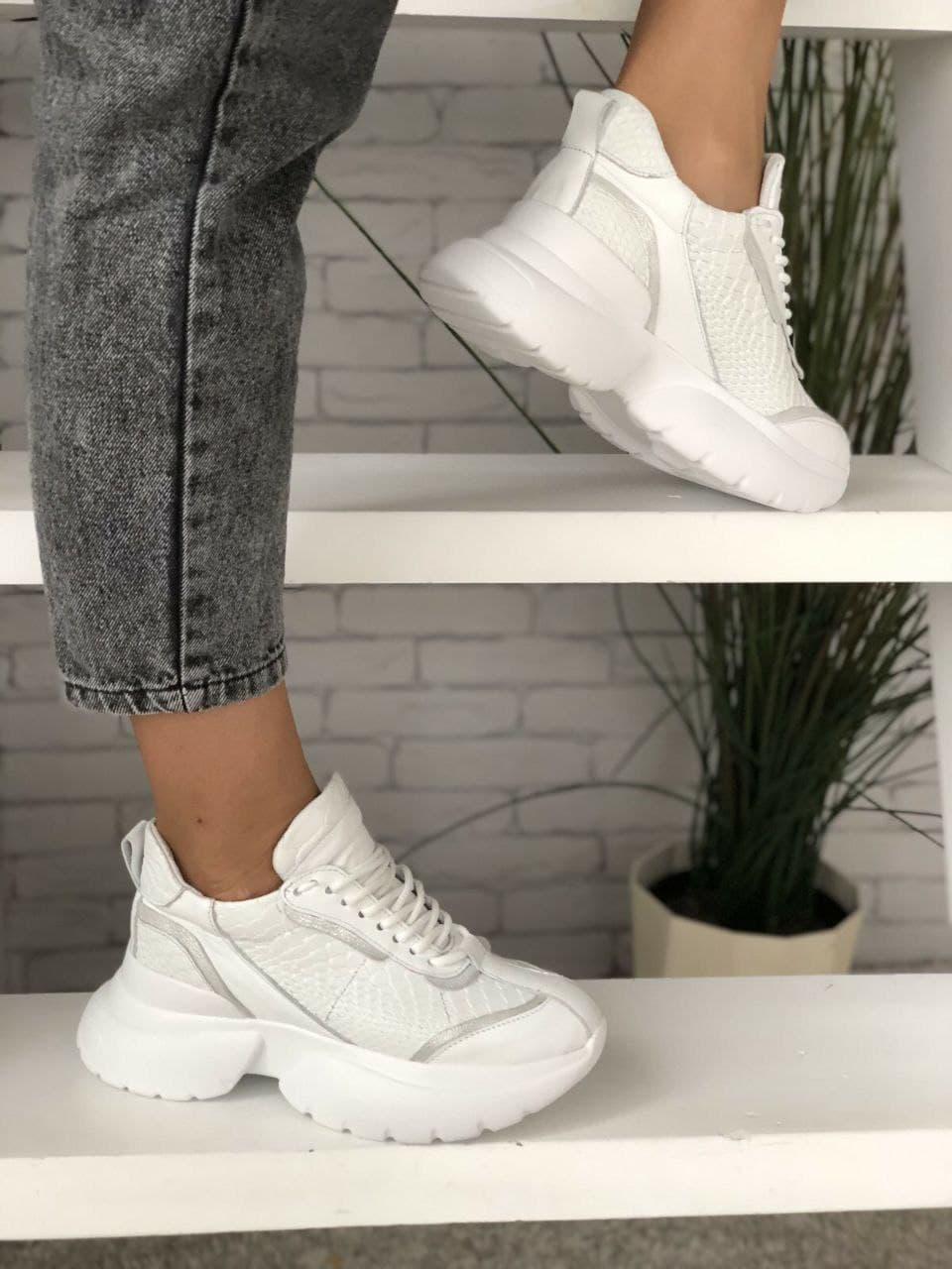 Жіночі шкіряні білі кросівки, на платформі