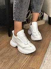 Жіночі шкіряні білі кросівки, на платформі, фото 3