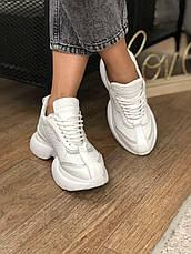 Жіночі шкіряні білі кросівки, на платформі, фото 2