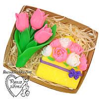 Мило набір 8 березня, букет тюльпанів, букет півоній, подарунок жінці, ручна робота