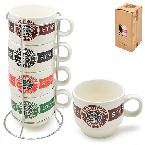 """Чашки на подставке """"Starbucks"""" 5пр/наб 150мл"""