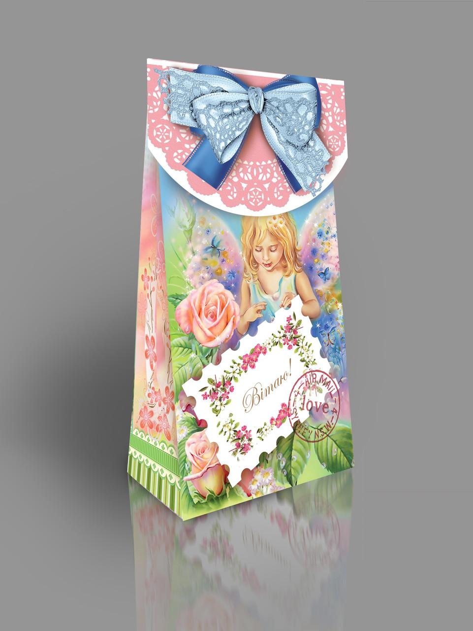 Картонная подарочная упаковка с открыткой Святкова, на вес до 250г, оптом