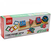 Розвиваюча іграшка дерев'яна пірамідка конструктор сортер Fun Game 3+ (87639), фото 2