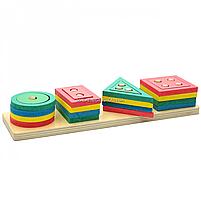 Розвиваюча іграшка дерев'яна пірамідка конструктор сортер Fun Game 3+ (87639), фото 4