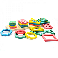 Розвиваюча іграшка дерев'яна пірамідка конструктор сортер Fun Game 3+ (87639), фото 5