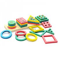 Розвиваюча іграшка дерев'яна пірамідка конструктор сортер Fun Game 3+ (87639), фото 6