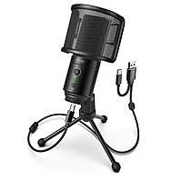 Fifine K683A конденсаторный USB/Type-C микрофон с поп-фильтром - Черный