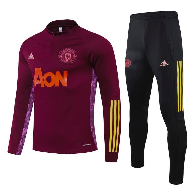 Детский тренировочный костюм Манчестер Юнайтед/Manchester United (Англия,Премьер Лига), вишневый, 2020-2021