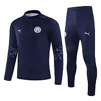 Детский тренировочный костюм Манчестер Сити/Manchester City (Англия, Премьер Лига), темно-синий, 2020-2021