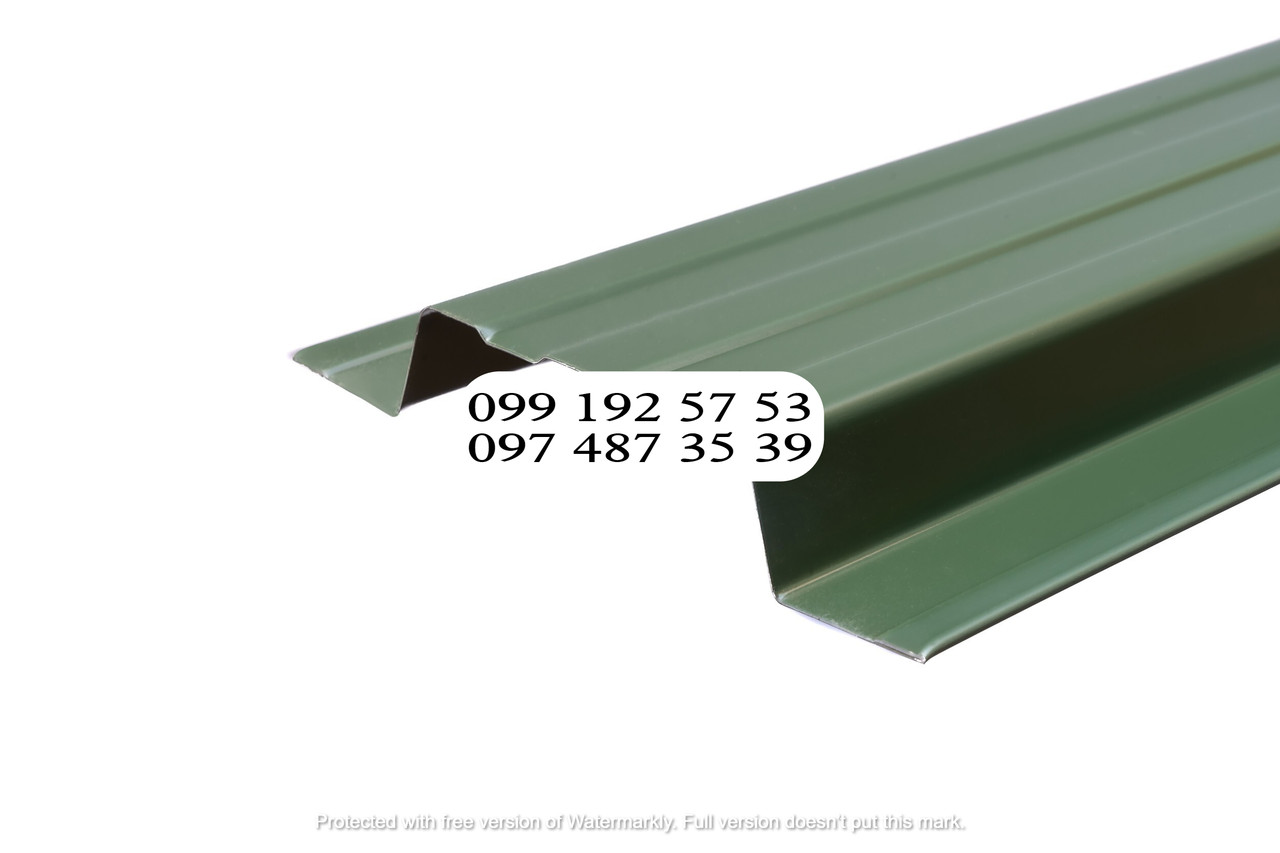 Металлический штакетник 115мм, верх - прямой двухстор. Словак 0.45мм RAL 6020 Хромовый зеленый, Темно-зеленый