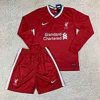 Детская футбольная форма с длинным рукавом Ливерпуль/Liverpool (Англия, Премьер Лиг), домашняя, 2020-2021
