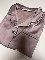 Жіноча піжама 3-ка шовкова капучіно-перламутр V. Velika (сорочка, шорти, штани) велюрова, фото 1
