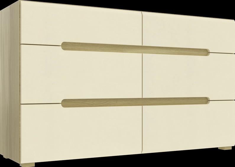 Комод Інтарсіо Fusion F 6Ш 1420х840 мм Дуб скельний + Слонова кістка (FUSION_F)