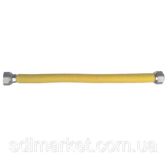 Шланг ГАЗОВИЙ 1/2*1/2 СТ 500мм-850мм. нержавійка, растяж.,біла оплетка ABS. PressINOX-9404 (TUCAI)