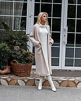 Комплект пальто и вязанное платье