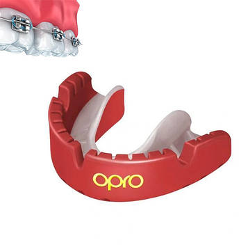 Капа OPRO Gold Braces Red/Pearl (art.002227008) (AS)