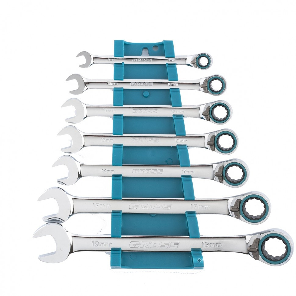 Набор ключей комбинированных с трещоткой Gross 8-19 мм 7 штук реверсивные CrV (14892)