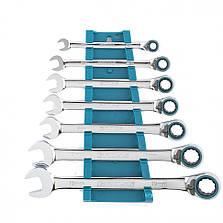 Набор ключей комбинированных с трещоткой Gross 8-19 мм 7 штук реверсивные CrV (14892), фото 2