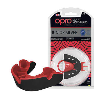 Капа OPRO Junior Silver Black/Red (art.002190001) (AS)