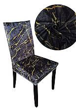 Чехлы на стулья под мрамор без оборки Серый мрамор с желтыми разводами из велюра 6 штук Турция E