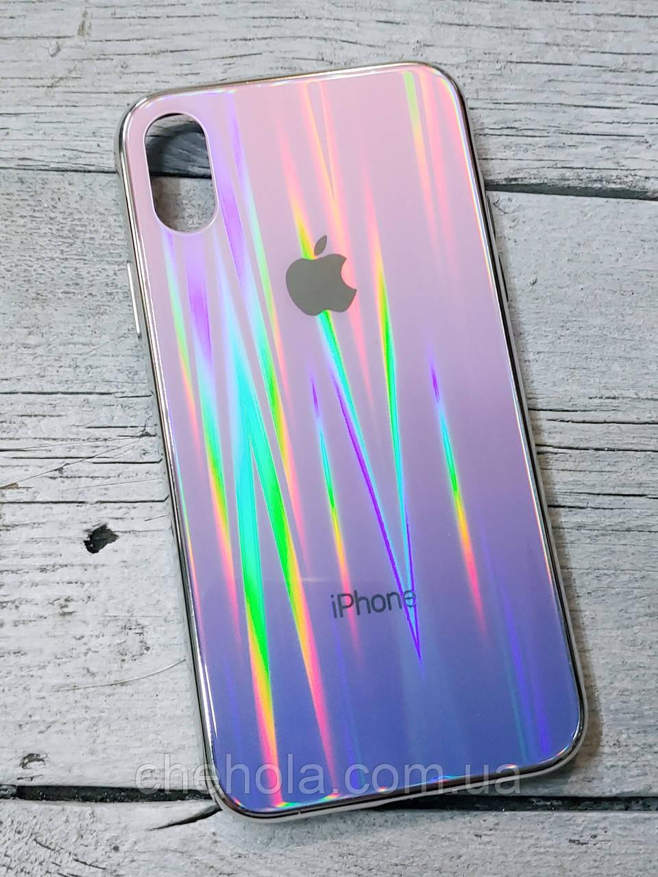 Скляний силіконовий чохол Iphone X XS з переливом протиударний відеоогляд